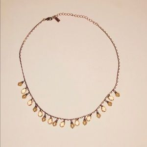 1928 rose gold necklace w/ pink stones & pearls